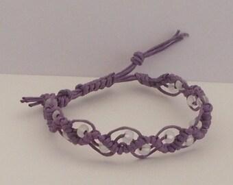 Armband Mikrama Makramee lila