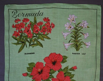 Vintage Bermuda Tropical Flowers Linen Dish Towel or Wall hanging by Ulster, Unused Green & Red, Irish Linen
