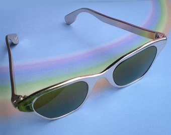 Vintage 60s Tura Gold Metal Cat Eye Sunglasses