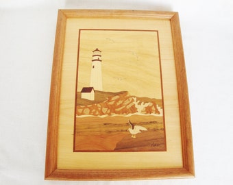 vintage lighthouse hudson river inlay Jeff Nelson wood marquetry picture