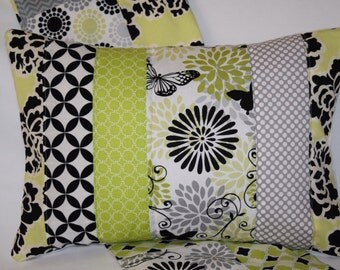 "Limelight Butterfly Quilted Pillow Cover 12""x16"" - Lime Green, Black and White, Citron, Floral, Butterflies, Home Decor"
