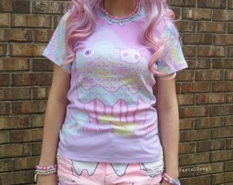 Conversation Candy Bats Cupcake Tee Shirt, Bat Cupcake Tee, Pastel Goth T-Shirt