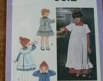 Vintage Simplicity Girls Dress and Pinafore Pattern # 8812, Size 3