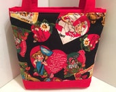 Happy Valentine's Day, Gift Tote Bag, Gift Wrap, Wrapping Paper, Birthday, Patchwork, Love Gift Bag, Tote for Sweets, Valentine Cards Fabric