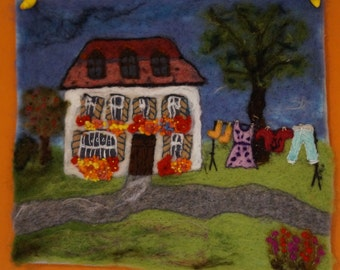Washing Day - ooak needle felted wool painting - original fibre art handmade
