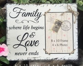 Family Frame, Family Picture Frame, Family, where life begins and love never ends, 8 x 10