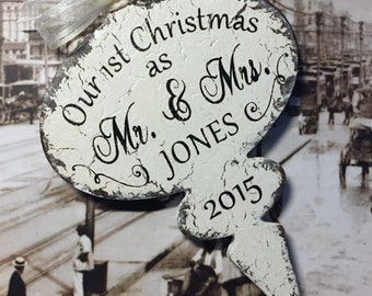 Our 1st CHRISTMAS ORNAMENT, Mr. and Mrs. Christmas Ornament, First Christmas Ornament, Shabby Chic Style Ornament, 4 x 6