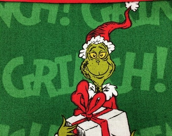 Cotton Green Pillowcase with Grinch Print