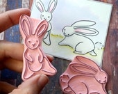 Sketchy Bunny - Hand Carved Rubber Stamp