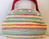 Vintage Handbag Collection, de Lanthe Tapestry Bermuda Bag with Plastic Tortoise Shell Handles, Retro
