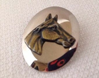 Vintage, Horse Scarf Clip, Brass Horse in a Silver Background, Equestrian