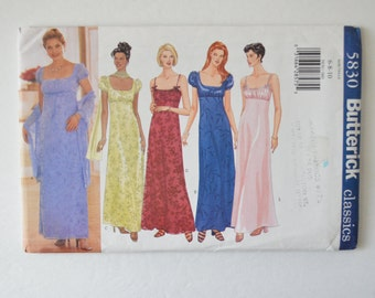 1990s UNCUT Butterick Sewing Pattern 5830 Womens Easy Empire Waist Josephine Dress w/ Scoop Neckline, Ruched Bodice Size 6,8,10