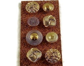 Decorative Gold Colored Push Pins  in Cute As A Button Set of 8  (BP1)