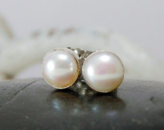 Small pearl earrings Mabe Pearl Posts  White Pearl Studs Little Girls Earrings