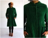 Vintage 1960's Heavy Green Corduroy Jacket with Gold Chain Belt by Main Street | Small/Medium