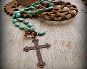 Remuda, Western Cowgirl Southwestern Boho Hand Knotted Turquoise Stone Copper Cross Necklace