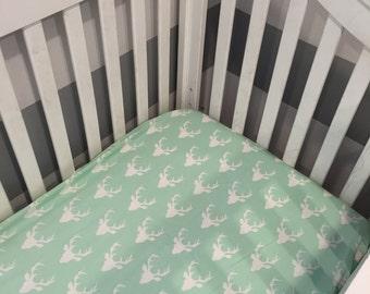 Mint Deer Crib Sheet, Baby Boy Bedding, Mini Crib Sheet, Mint Crib Bedding, Mint Buck Forect Crib Sheet, Deer Head Sheet