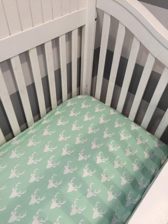 Deer Crib Bedding For Boys : Mint deer crib sheet baby boy bedding mini
