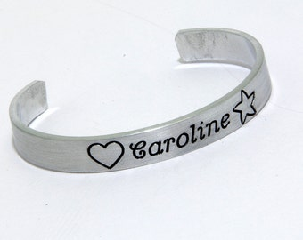 First communion gifts, Baptism, Kids Personalized metal cuff bracelet, custom bracelet, aluminum cuff hand stamped bracelet, baby bracelet