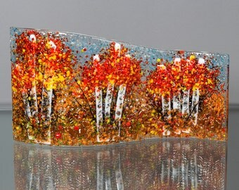 Fused Glass Decorative Panel - BluDragonfly SRA - Fall Scene - Medium Glass Panel
