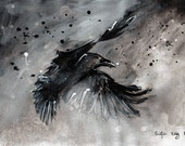 Ink painting on canvas A4 (11,6x8.3in) -   abstract raven flying in cloudy sky