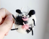 Cheeky cow brooch needle felted geekery purse charm pin 2