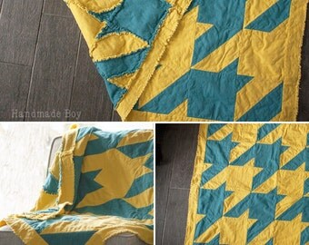 Houndstooth Rag Quilt Sewing Pattern - Houndstooth Rag Quilt Pattern- How to Rag Quilt- Sewing a Rag Quilt- Simple Quilt Pattern- How to Sew