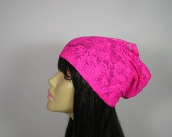 Hot Pink Lacey Slouchy Hat Hot Pink Lace Boho Beanie Summer Slouchy Beanie Boho Slouchy Hat Boho Beanie Lightweight Slouch Hat Womens Beanie