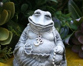 Meditating Frog Buddha - READY TO SHIP Now - Feng Shui Toad Buddha Statue - Concrete Art