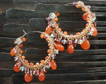 Carnelian, Garnet, Pink Tourmaline, Blue Zircon, Amethyst, 14k Gold Filled hoop earrings, Summer earrings ... HIKARU Earrings