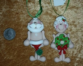 Handmade Polymer Clay NAUGHTY Santa ClAuSe & MrS cLaUsE Christmas Ornaments (couple set)