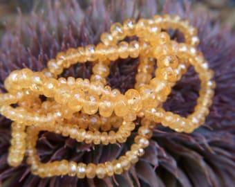 Mandarin Garnet Faceted Roundels - Half Strand - 2 to 4mm - 8.5 Inches