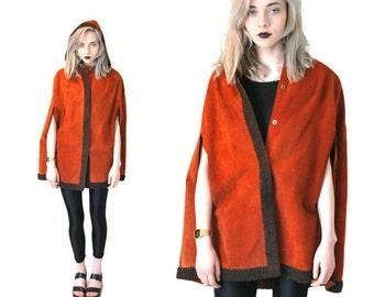1970s suede cape 70s retro burnt orange fur trimmed bohemian hooded suede poncho capelet