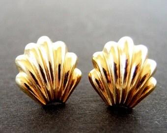 Vintage Gold Shell Stud Earrings, Pierced Post Earrings