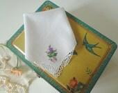 Vintage Handkerchief Purple Thistle and Heather with Lace Corner Hand Embroidered Hankie Scottish Wedding - EnglishPreserves