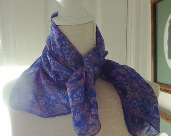 Blue and Pink Small Silk  Scarf - EnglishPreserves