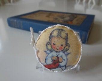 Tape Measure Retractable Knitting Angel Handmade Printed Vintage Graphic - EnglishPreserves