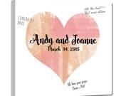 Watercolor Heart Shaped Wedding Guest Book Alternative - Unique Guestbook CANVAS  20X20