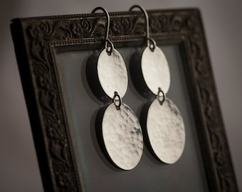 Long Ovals Earrings. Two Hammered Sterling Silver Ovals. Long Silver Earrings. Solid Sterling Silver Handmade Earrings.