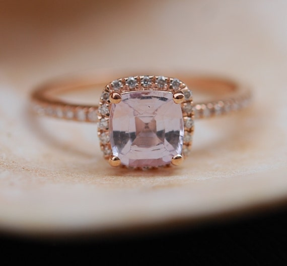 Rose Gold Engagement ring. Smokey Peach Sapphire ring. 1.25ct cushion sapphire 14k rose gold diamond ring. Engagement Rings by Eidelprecious