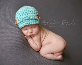 Crochet Baby Hat, Baby Boy Hat, Hat for Boys, Newborn Hat, Boy Newborn Hat, Infant Boy Hat, Infant Hat, Baby Beanie, Boy Newsboy Hat, Blue