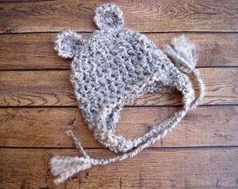 Crochet Newborn Hat, Newborn Boy Hat, Newborn Girl Hat, Newborn Prop, Newborn Bear Hat, Newborn Gift, Hat for Newborn, Baby Animal Hat, Grey