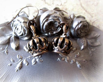 Bronze Crown Earrings