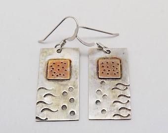 Mixed metal jewelry earrings .Steampunk jewelry earrings.Sterling earrings