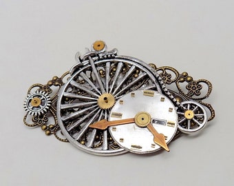Steampunk jewelry. Steampunk bicycle brooch.