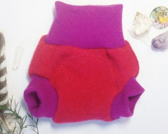 XSmall Fuschia and Violet Wool Soaker Diaper Cover / Cashmere / Pink and Purple