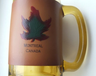 Montreal Canada Souvenir Amber Glass Beer Mug with Valhyde Leather Sleeve Maple Leaf