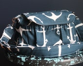 Anchors Navy Stripe MEDIUM size Digital Padded Camera Bag by Watermelon Wishes