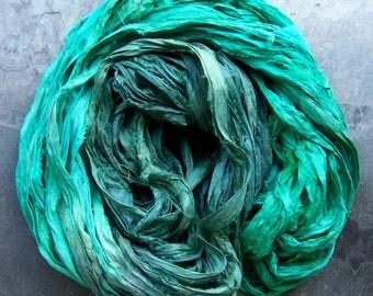 Recycled Sari Ribbon, Ombre Ribbon, Silk Sari, DIY, Reclaimed, Silk Sari Ribbon, India Ribbon, Turquoise Ribbon, Blue, Hand Dyed, 4 Yards