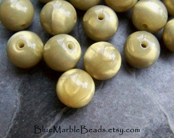 Opal Bead, Round Bead, Yellow Bead, Grey Bead, Sand Opal, Lucite Beads, Vintage Beads, 11mm, 20 Beads